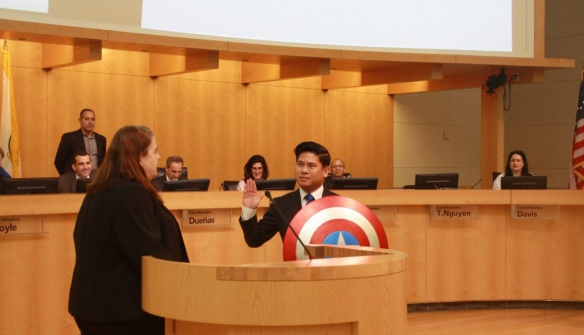 City Council Nerd Sworn In With Captain America's Shield!